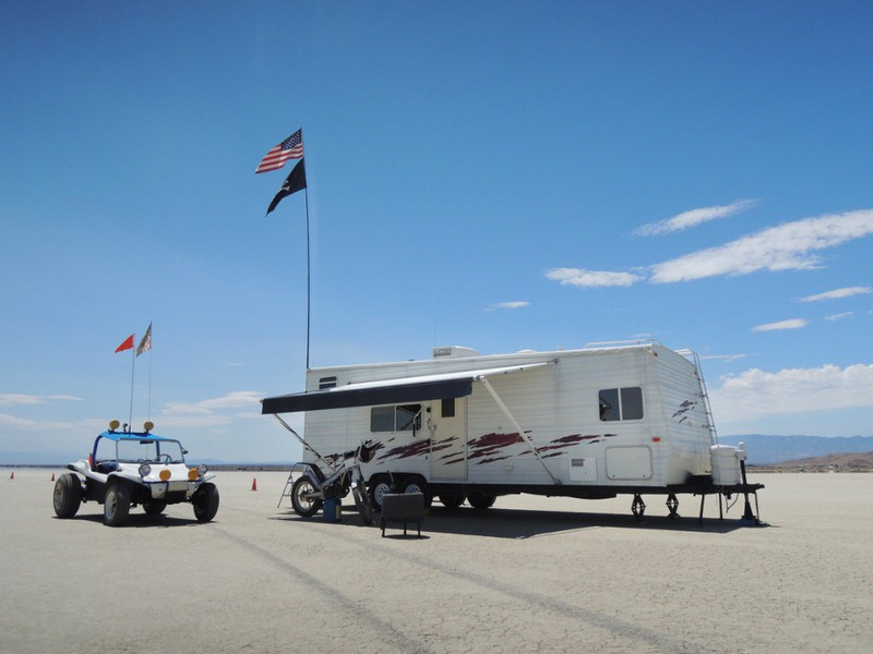 camper and dune buggy