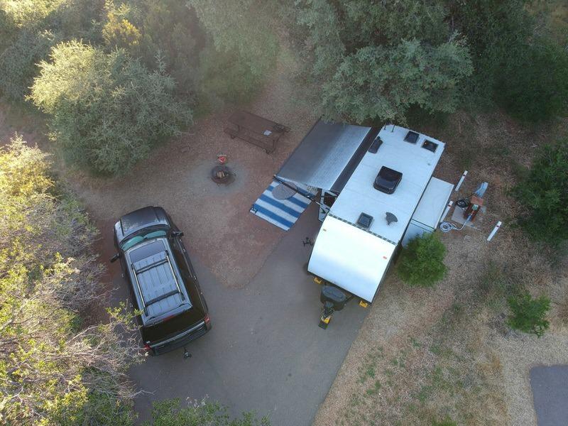 birds eye view of parking a camper trailer