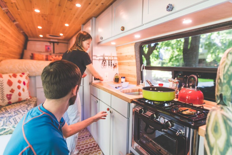 People in an RV kitchen