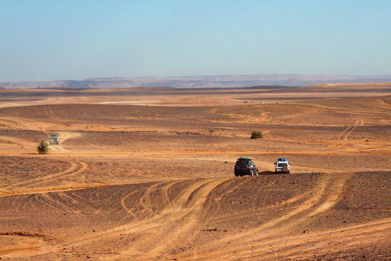 4x4s driving across the desert