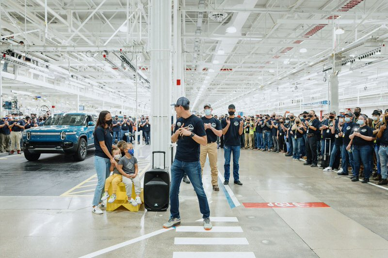 first rivian r1t assembly line